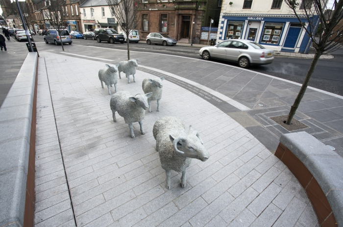 Lockerbie Town Centre Public Realm. Cheviot Sheep sculptures by David Annan