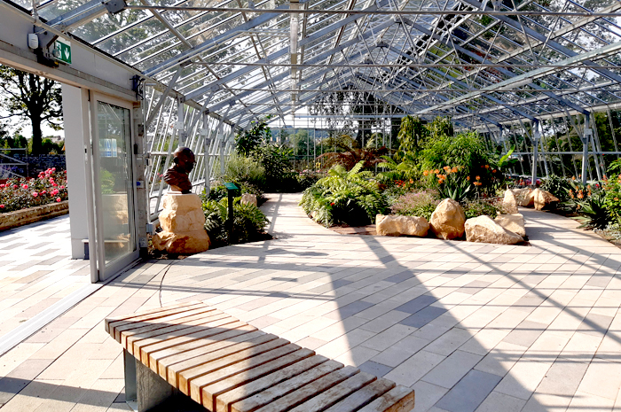 Restored Winter Gardens interior with planting and seating